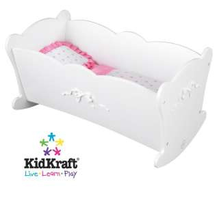 KidKraft Tiffany Bow Lil Doll White Wood Baby Cradle