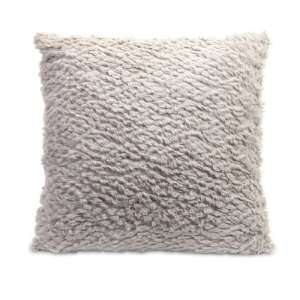 Oatmeal Colored Plush Faux Fur Decorative Throw Pillow