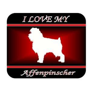 I Love My Affenpinscher Dog Mouse Pad   Red Design