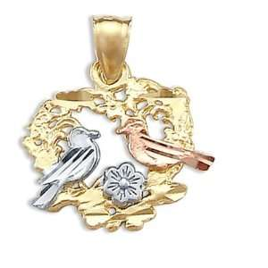 Heart Love Birds Pendant 14k Rose White Yellow Gold Charm