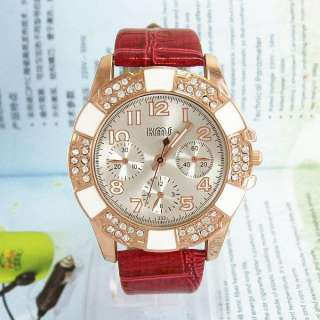 Red Leather Belt Crystal Quartz Golden Analog WristWatch for Ladies