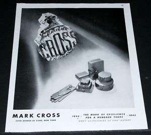1945 OLD WWII MAGAZINE PRINT AD, MARK CROSS, MENS FINE LEATHER ACC