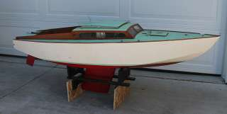 ANTIQUE VINTAGE Wooden Wood Pond Yacht Sail Boat Model Display Ship