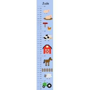 Farm Life (blue background) Personalized Canvas Growth Chart