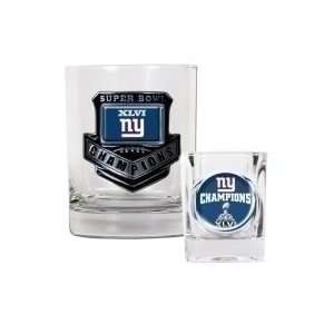 New York Giants ~ Super Bowl 46 Champions ~ Rocks Glass & Shot Glass