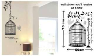 CUTIE BIRDS & BIRDS CAGE Wall Sticker in Black, just peel & stick