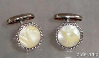 Vintage 1920s Art Deco Era Cufflinks with Creamy Opalescent Celluloid