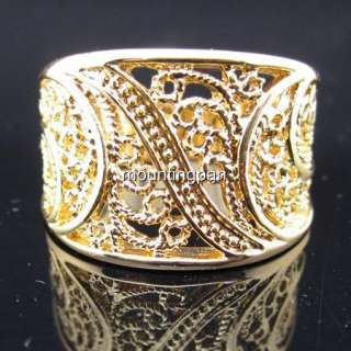 Wholesale 18K Yellow Gold Filled Men Lady Ring Filigree GF Jewelry