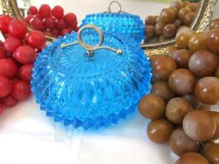 Glass Horizon Blue Diamond Point Boutique Candy Box Lidded Dish