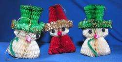 VTG 6 HONEYCOMB TISSUE PAPER SNOWMEN AND SANTAS XMAS ORNAMENTS