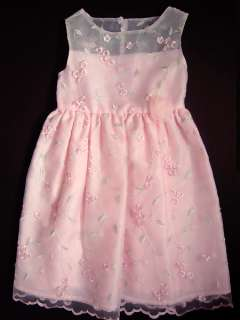 Girls Spring Pink Sheer Party Dress 4T Flowers