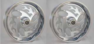 Harley Inferno CHROME BILLET WHEEL SET 17x3.5 & 18x5.5 Wheels