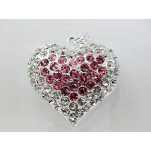 and Light Pink Mixed Crystal Heart Style USB Flash Drive with Necklace