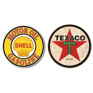 Nostalgic Gas & Oil Tin Metal Sign Bundle   2 round retro signs Shell