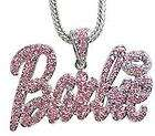 Nicki Minaj 3 BARBIE Iced Out Necklace Silver/Pink Pink Lips