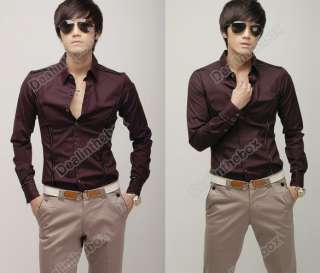 2012 Fashion Stylish Men Casual Slim Fit Dress Shirts 2 color Asian M