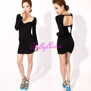 Sexy Women Unique V Neck Backless Clubwear Cocktail Party Mini Dress