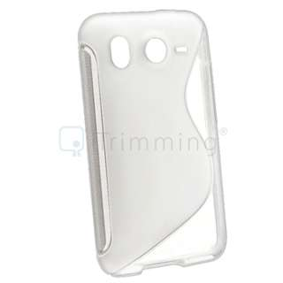 Black+White S Shape TPU Rubber Gel Soft Skin Case+LCD Cover For HTC