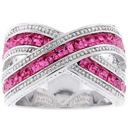 Kate Bisset Silvertone Criss cross Pink Cubic Zirconia Ring
