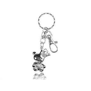Crown Teddy Cuddly Bear Swarovski Crystal Rhinestone Keychain Jewelry