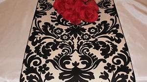 Damask Black & Ivory Cream White Table Runner Onyx 72
