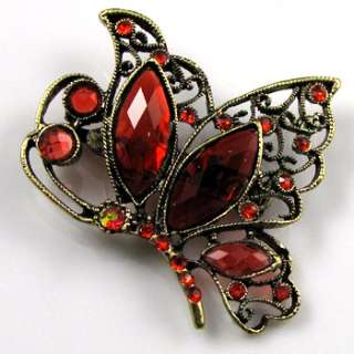 antiqued rhinestone butterfly brooch pin bouquet