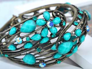 Jeweled Metallic Blue Crystal Rhinestone Flower Cuff Bangle Bracelet
