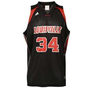 adidas Louisville Cardinals #34 Black Replica Basketball