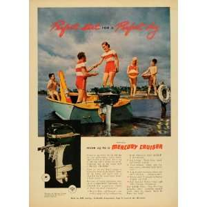1952 Ad Mercury Cruiser Boat Engine Lake Waterskiing