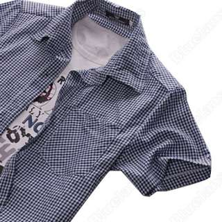 New Mens Slim Fit Casual & Dress Plaid Check Shirt Korean Style Blue