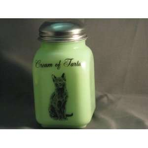 Green Milk Glass Cream of Tartar Spice Shaker with Caz the
