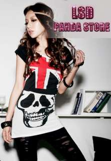 Red Skull Pattern Punk Rock T Shirt Top Summer Blouse Women