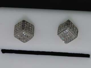 MENS LADIES YELLOW GOLD DIAMOND 3D CUBE STUD EARRINGS