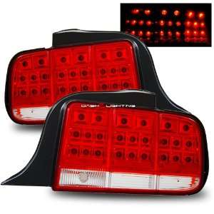 05 09 Ford Mustang LED Tail Lights   Red Clear Automotive