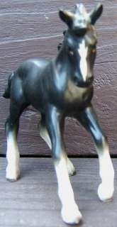 Vintage NAPCO BLACK and WHITE HORSE PONY COLT Ceramic Figurine JAPAN