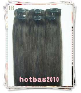 20 6pcs 100% Real HUMAN HAIR CLIP IN EXTENSION #1b,30​g/set