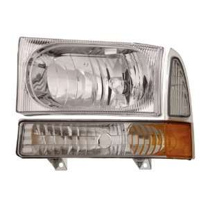 99 04 Ford Super Duty Chrome Headlights /w Amber Corner