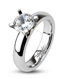 316L Stainless Steel Clear CZ Solitaire Prong Set Ring 4mm Wide Sizes