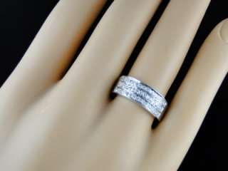 MENS LADIES WHITE GOLD FINISH 7.5 MM GENUINE DIAMOND WEDDING BAND RING