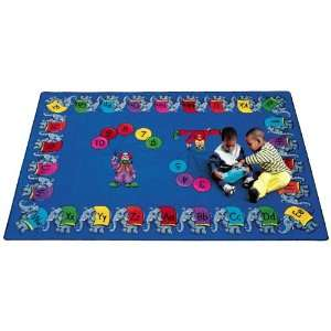 Joy Carpets Circus Elephant Parade Kids Area Rug, Blue