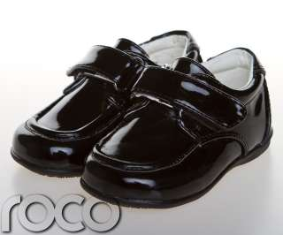 Childrens Baby Boys Black Shoes Velcro Wedding Page Boy Christening