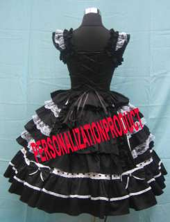 Ball Gown cute bow Lace Black cotton Cosplay knee Length dress