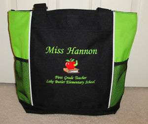 TOTE BAG Personalized Zippered Teacher Librarian Books