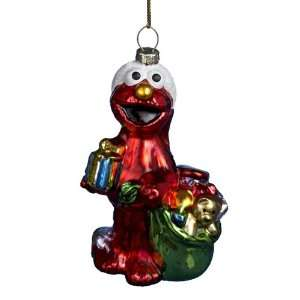 Kurt Adler 5 Inch Glass Elmo with Bag of Presents Ornament