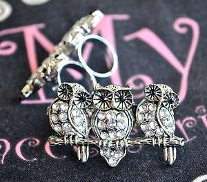 Adjustable Silver Night Owl Two/DUAL Finger Ring