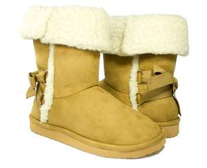 on Camel Bow Shearling Cuff Boot   Classic by Soda Shoes (Faux Fur