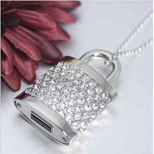High Quality 32 GB Lock Shape Crystal Jewelry USB Flash