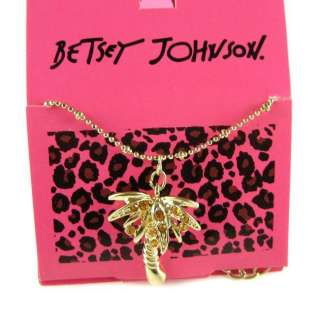 New Betsey Johnson Cute Golden Crystal Coco Necklace 405
