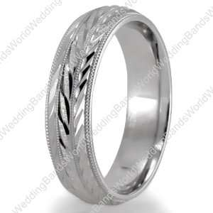 Hand Engraved Wedding Bands,950 Palladium 6mm Wide Jewelry