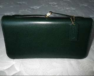 COACH MADISON VINTAGE RETRO HUNTER GREEN LEATHER BABY BRIEF CLUTCH